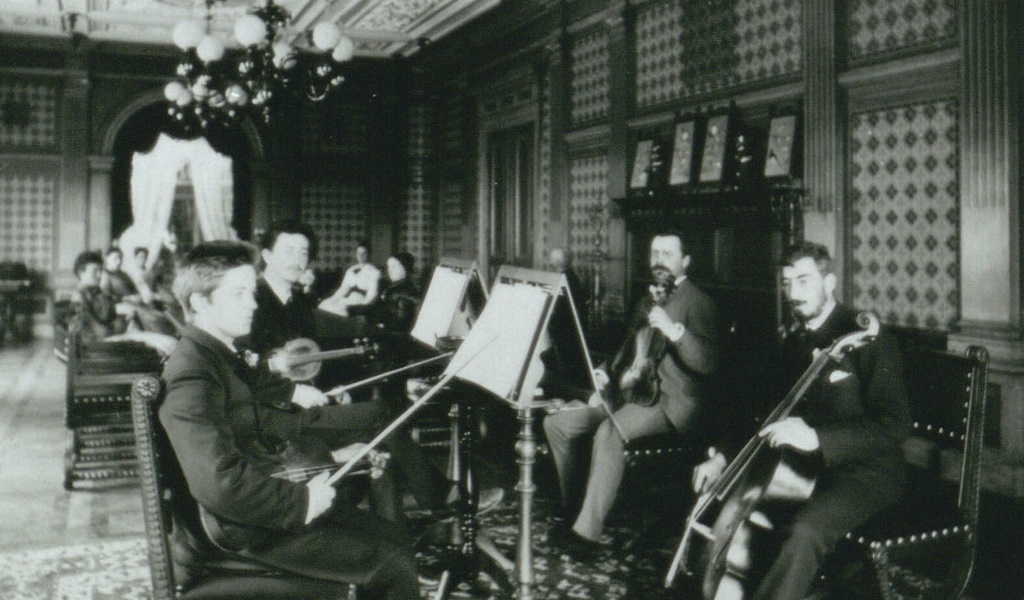 Carl Nielsen (1865–1931) in a string quartet, playing the viola (Royal Danish Library)]